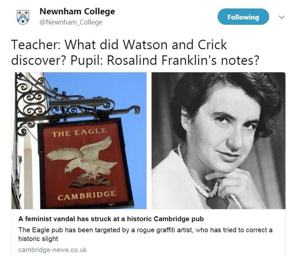 Tweet about Rosalind Franklin by Newnham College