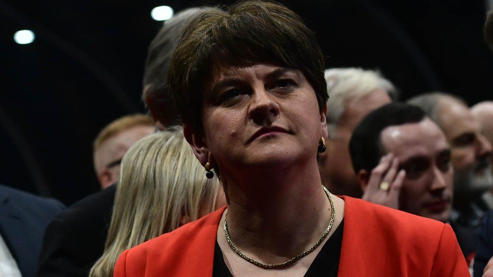 Arlene Foster at the election count in Belfast on Friday morning