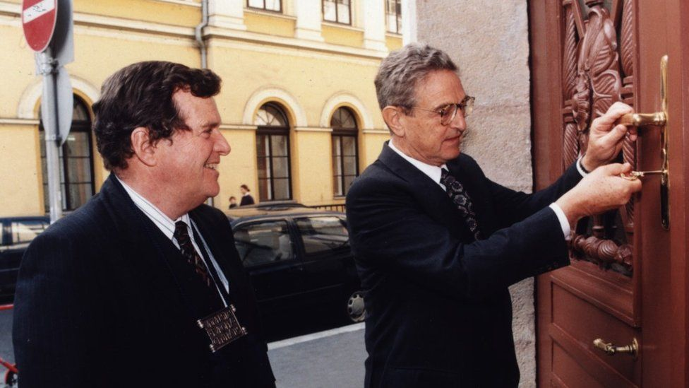 George Soros (R) at the CEU's opening ceremony in January 1995 with the university's first president Alfred Stepan