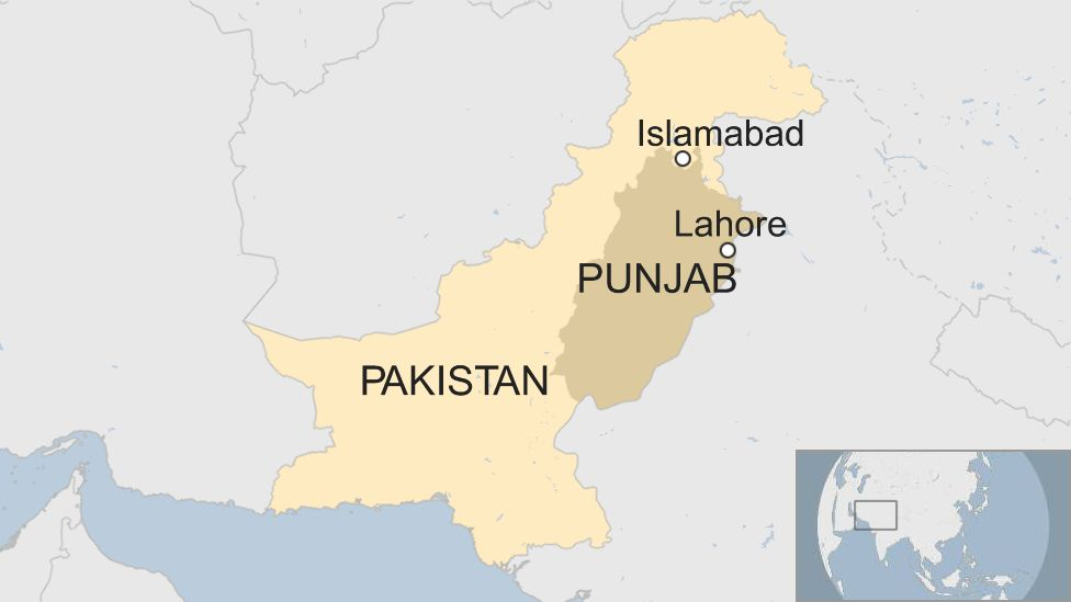 A map showing Lahore and Islamabad in Pakistan