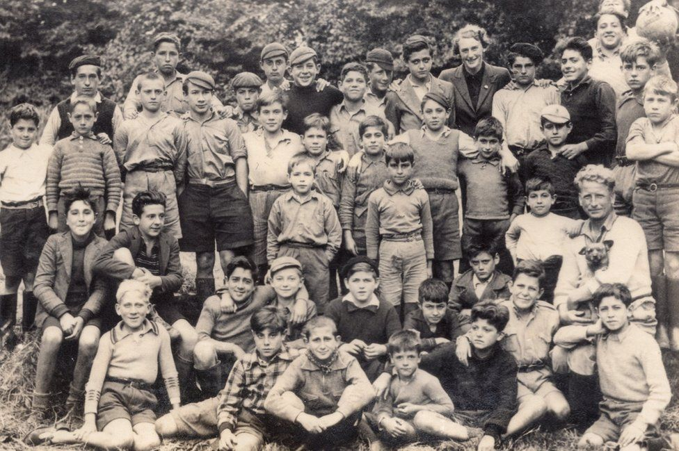 Poppy Vulliamy with Basque boys at Rollesby Rectory