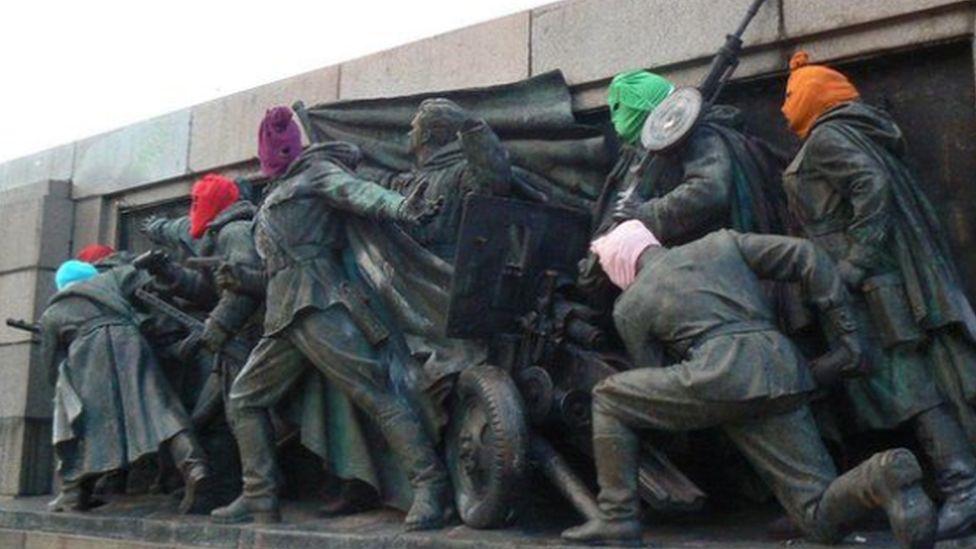 Pussy Riot balaclavas on Sofia Soviet Army monument, 2013