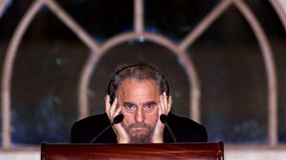 This file photo taken on May 11, 2001 shows Cuban President Fidel Castro listening as he addresses a public lecture in Kuala Lumpur.