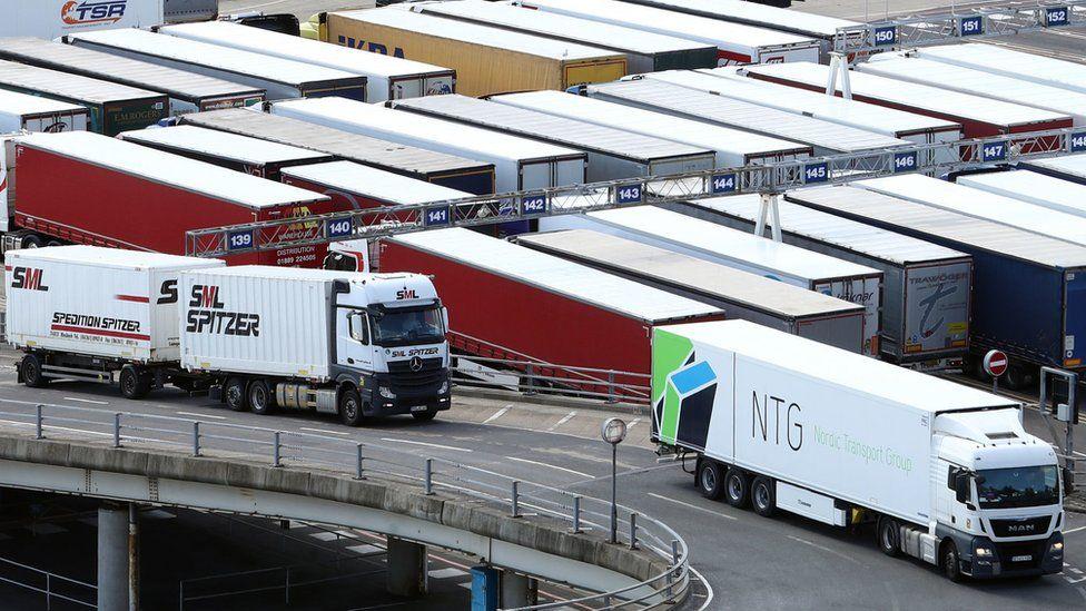 Lorries at Dover, 20 April 2021