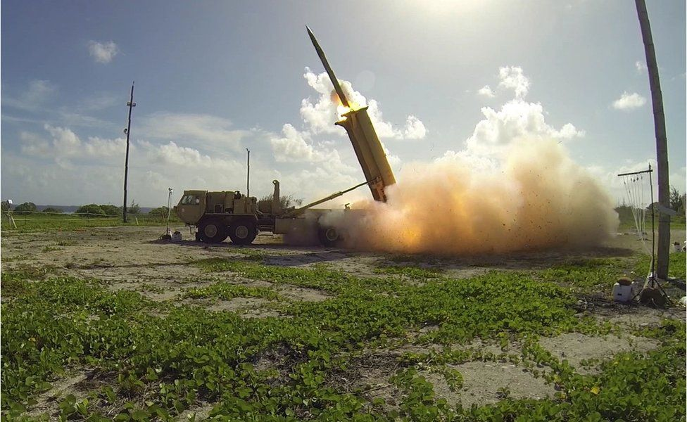This handout photo taken on November 1, 2015 and received by the US Department of Defense/Missile Defense Agency shows a terminal High Altitude Area Defense (THAAD) interceptor being launched from a THAAD battery.