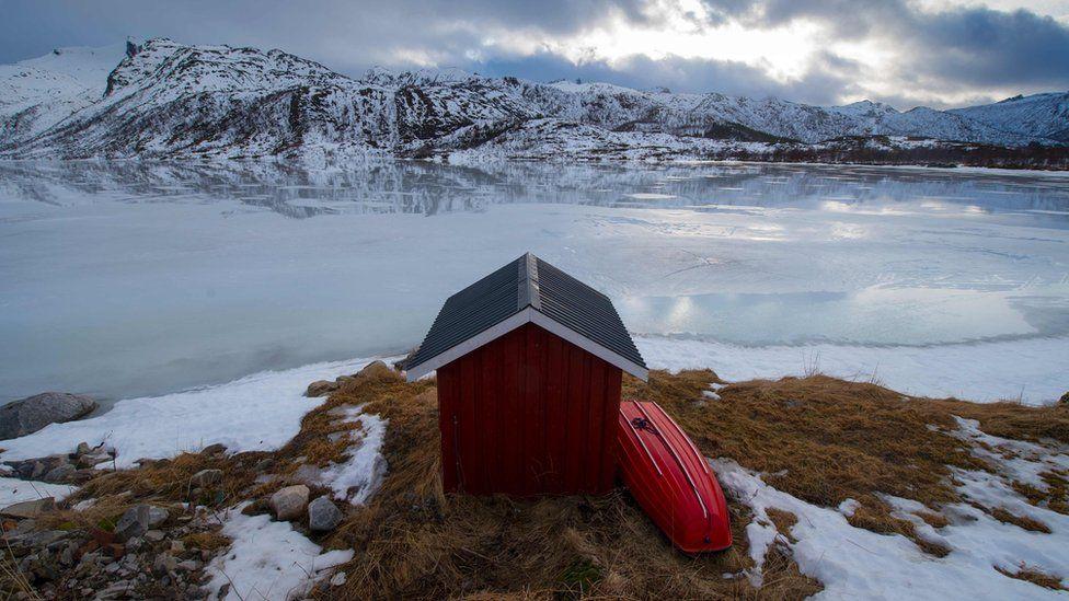Private fishing cabin at a fjord near Svolvaer, in Lofoten archipelago, Arctic Circle (file photo)