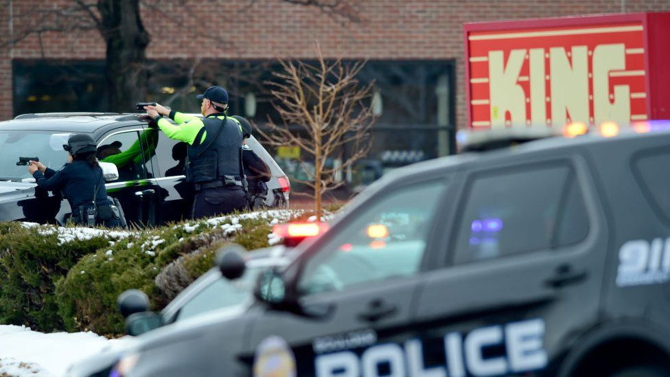 Police officers surround King Soopers on Table Mesa Drive in Boulder after reports of shots fired inside on 22 March 2021.
