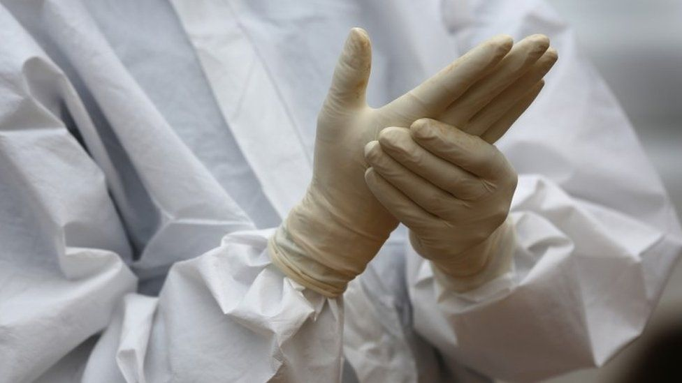 Ebola worker in protective clothing