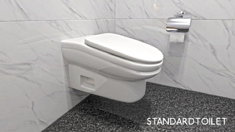 The sloping toilet design shown in a digital mock up