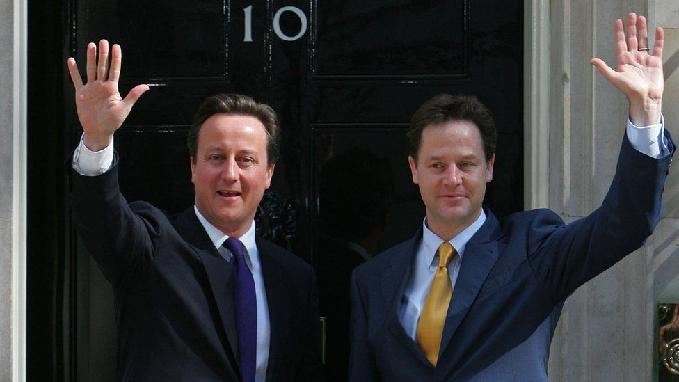 David Cameron and Nick Clegg outside Downing Street on 12 May 2010