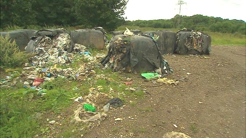 Rubbish bags in field