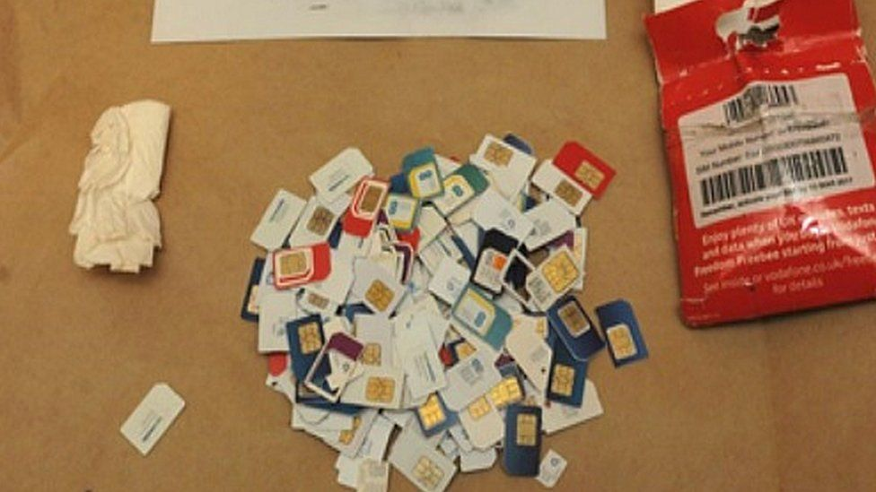Sim cards recovered from the flat