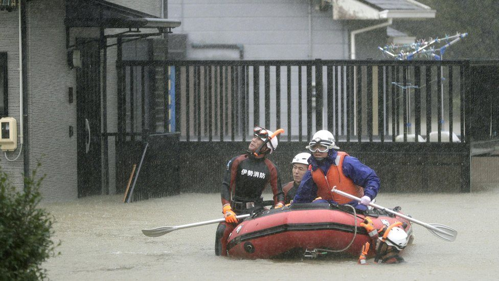 A residential area is flooded in Ise, Mie Prefecture, central Japan, ahead of the arrival of Typhoon Hagibis.