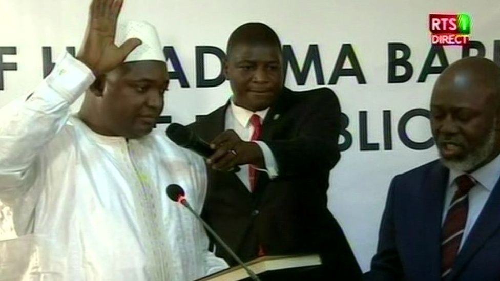 Adama Barrow during his swearing in ceremony