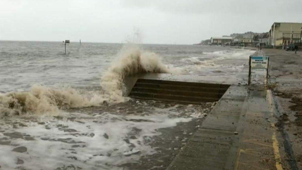 The sea sprays at Hunstanton, west Norfolk
