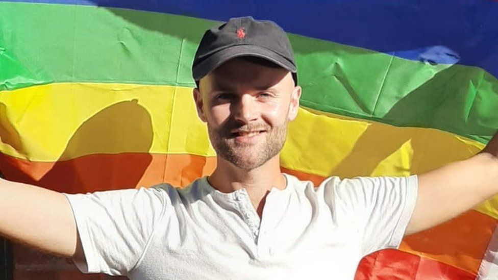 Alex Hancock faced abuse when he displayed his Pride flag out of his window