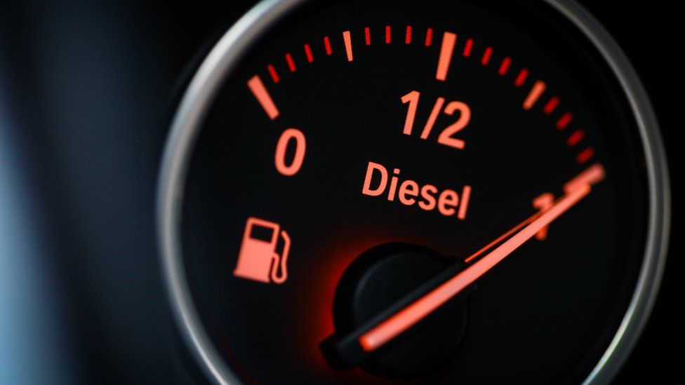 A close-up shot of a fuel gauge in a diesel car.