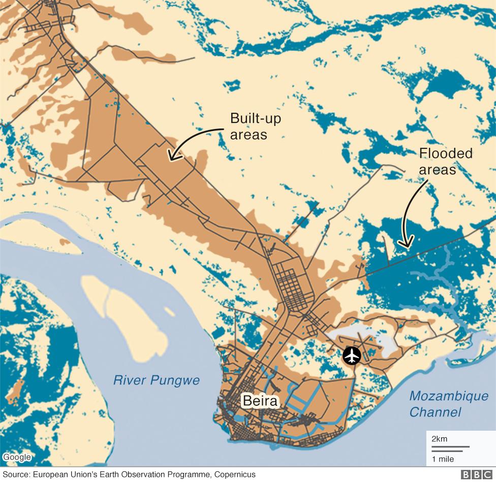 Map showing flooding around Beira