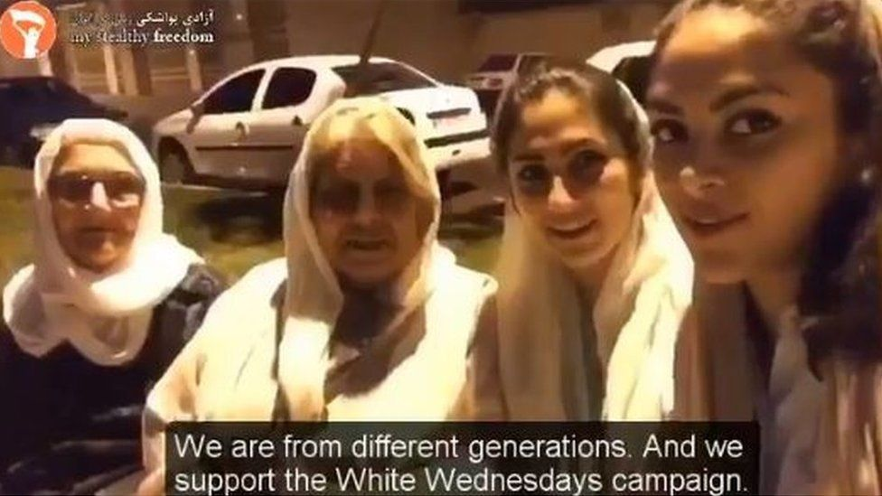 Iranian women wearing white