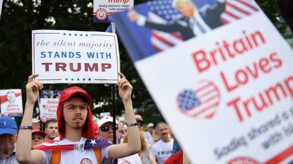 Supporters of Donald Trump gathered at the US Embassy in London