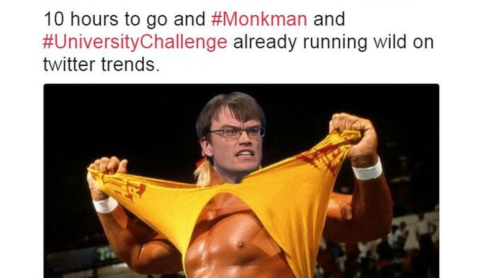 tweet with picture of Monkman as a wrestler