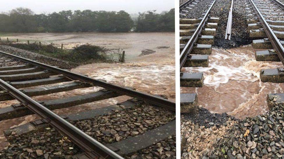 Flooded rail line at Pontrilas