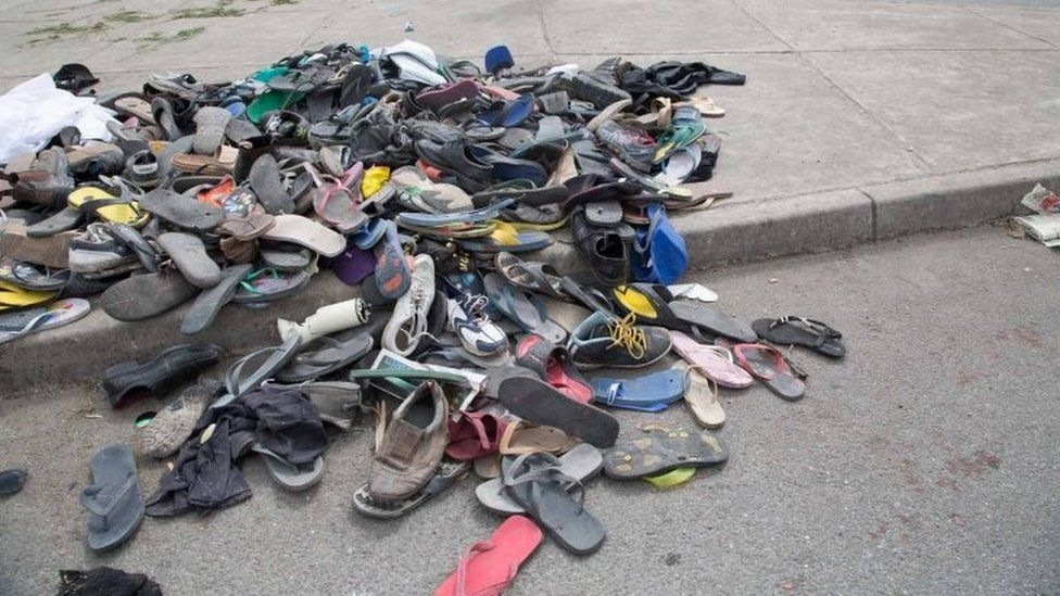 A large number of shoes and slippers are seen at the entrance to the University of Papua New Guinea following a protest rally by the students in Port Moresby. Photo: 8 June 2016