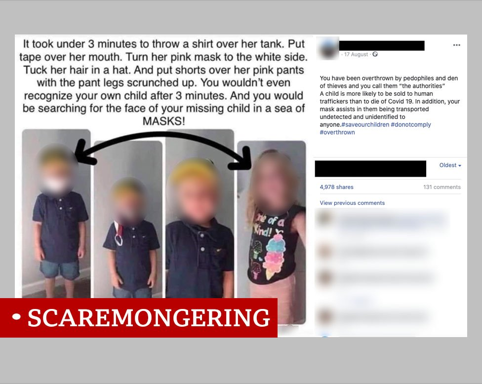 Post taken from Facebook, talking about how easy it is to disguise a child who is wearing a mask