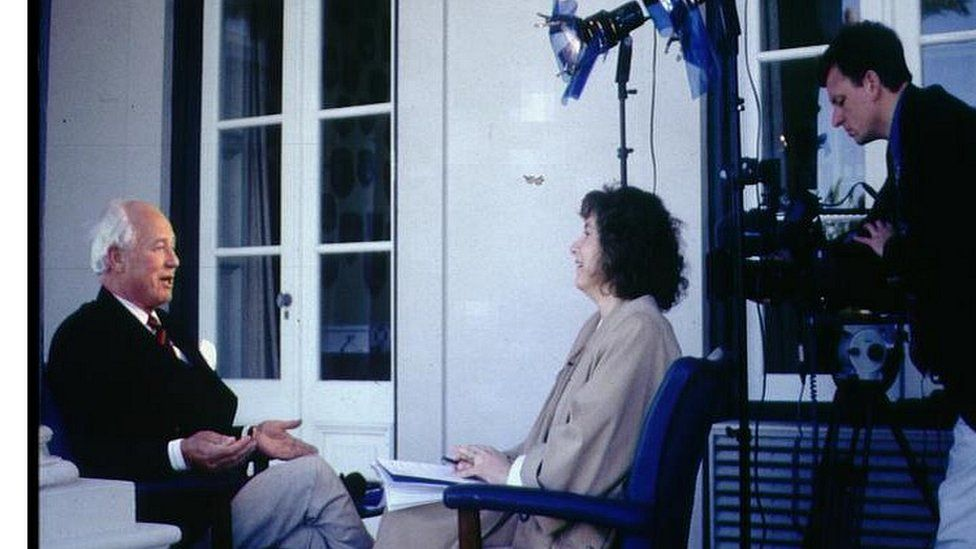 Lord Waddington being interviewed in 1995