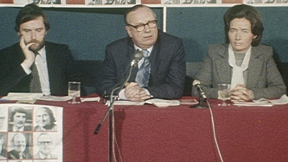 Brid Rodgers at an SDLP press conference in the 1970s