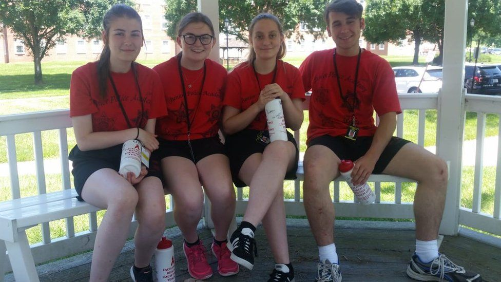 Dyfed-Powys volunteer cadets (left-to-right) Cheyenne Kirby, Ffion Jones, Rebecca Roberts, and Tomos Chick