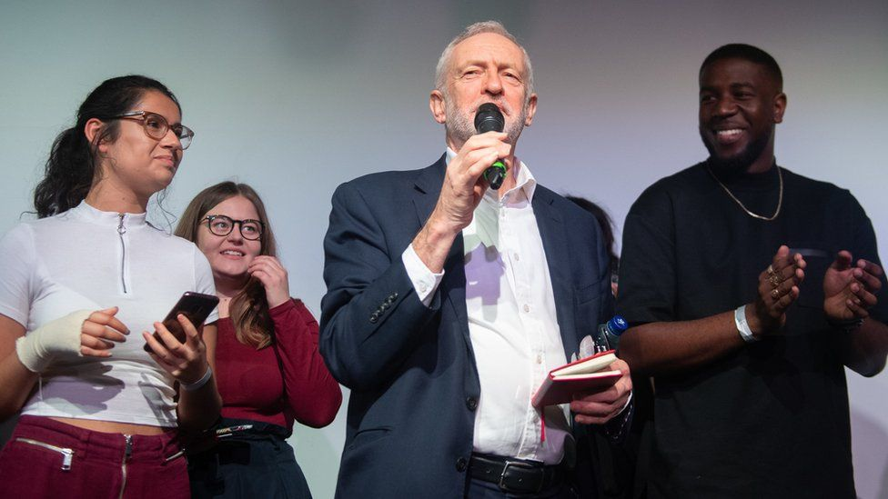 Jeremy Corbyn launches Labour's youth manifesto at a rally in Loughborough