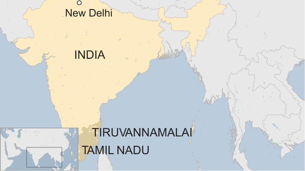 Map of Tamil Nadu state in India