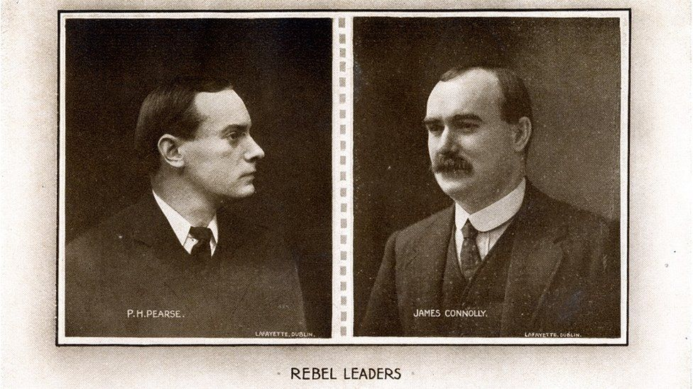 Pádraig Pearse and James Connolly, two of the leaders of the military council