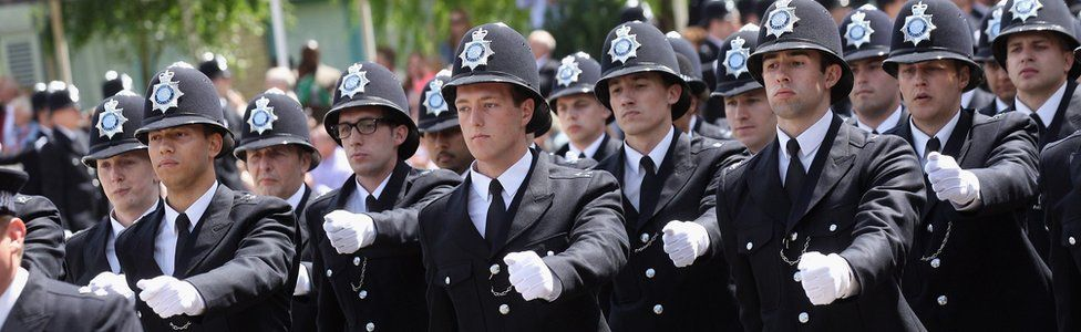 Police officers graduating from training college