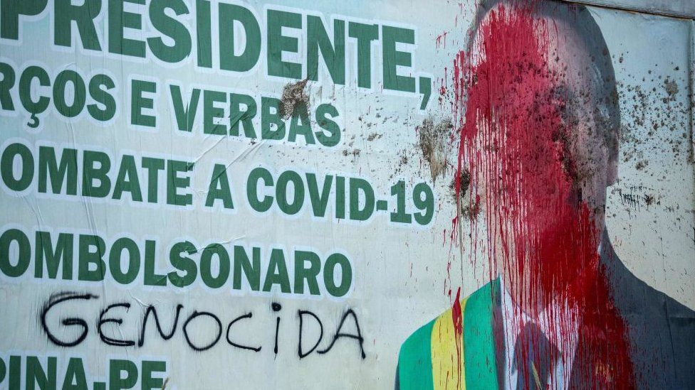 Billboard of President Jair Bolsonaro seen vandalised in Carpina, Pernambuco state, Brazil, on 27 March 2021