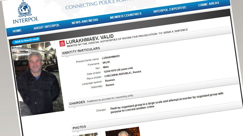 Interpol wanted list (page for Valid Lurakhmaev)