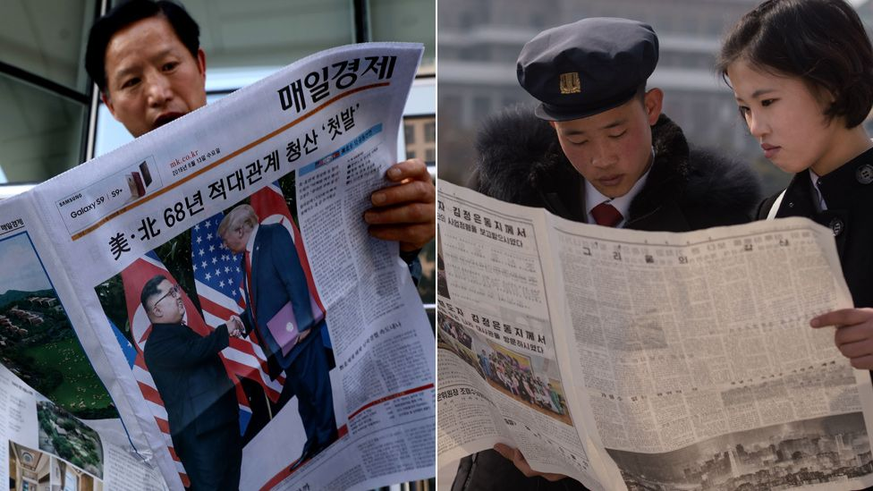 A man reads the Mae-il Gyeongj Sinmun newspaper in Seoul, while two people in Pyongyang read state-run Rodong Sinmun newspaper