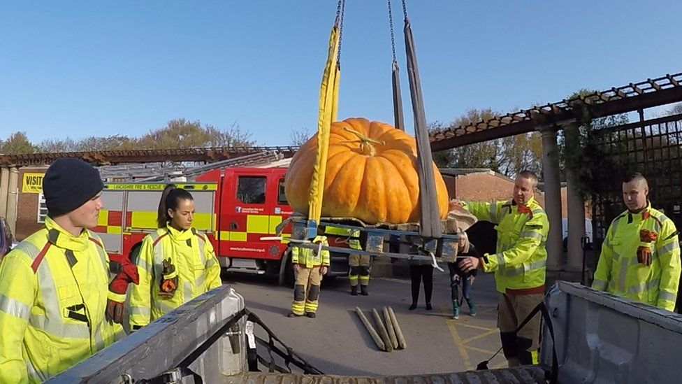 Large pumpkin is moved using an aerial ladder platform