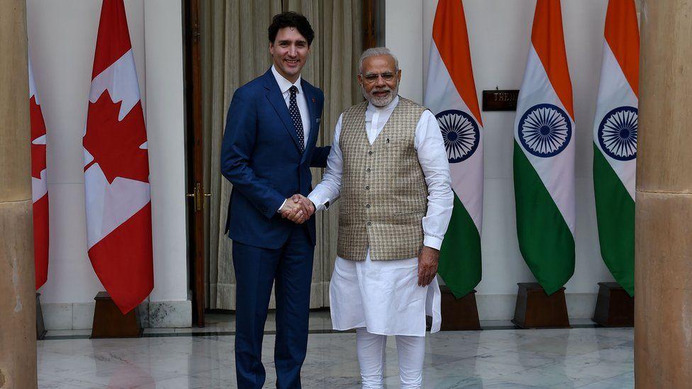 Canadian Prime Minister Justin Trudeau with Indian Prime Minister Narendra Modi
