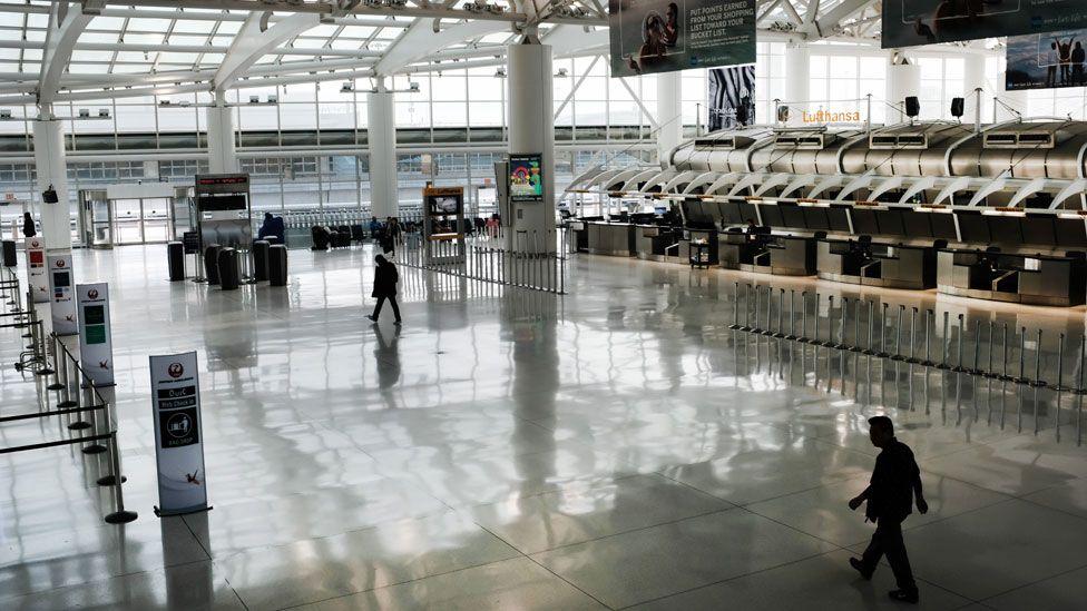 JFK airport in New York is eerily quiet