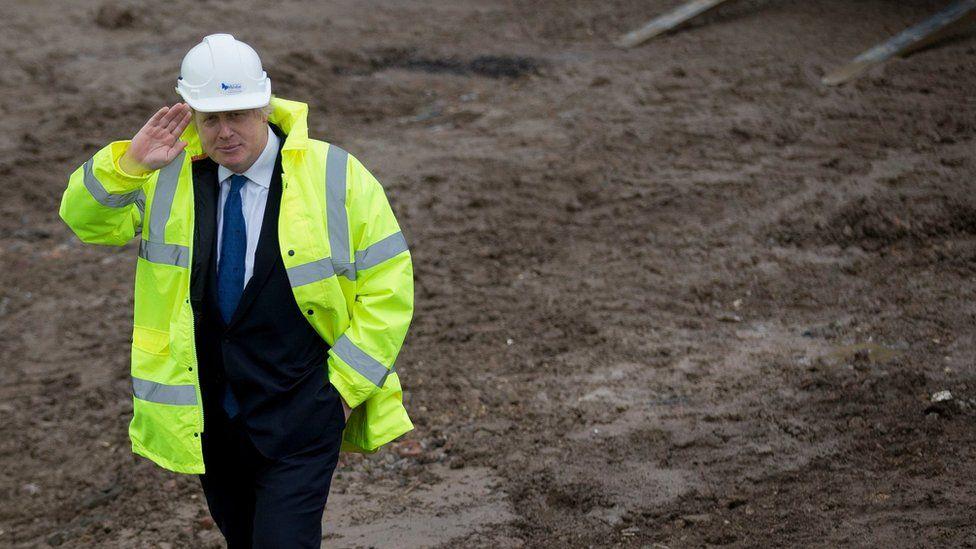 Boris Johnson on a building site