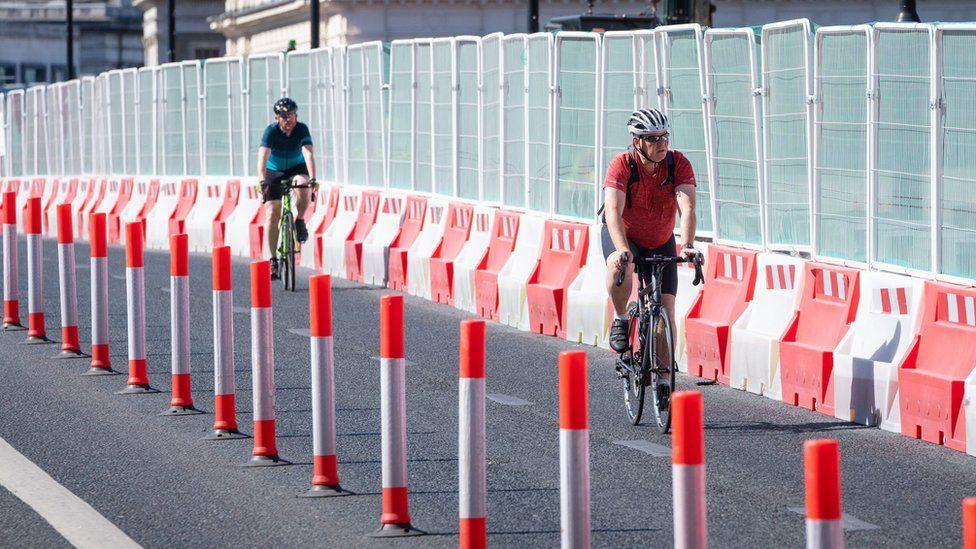 Cyclists near roadworks on London Bridge