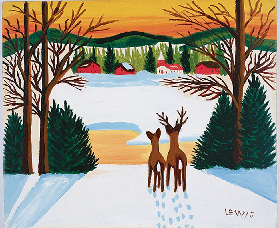 Painting of deer in winter by Maud Lewis.