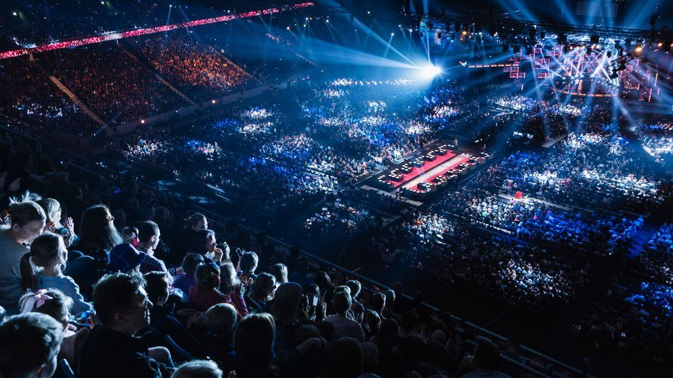Thousands of people watching Melodifestivalen at the Friends Arena in Stockholm
