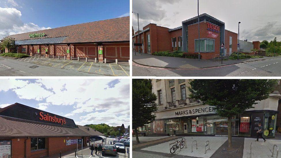 (Clockwise L-R) Waitrose, Audley Avenue, Newport; Tesco, Camden Street, Birmingham; Sainsbury's Chapel Lane, Selly Oak and Marks and Spencer, High Street Birmingham
