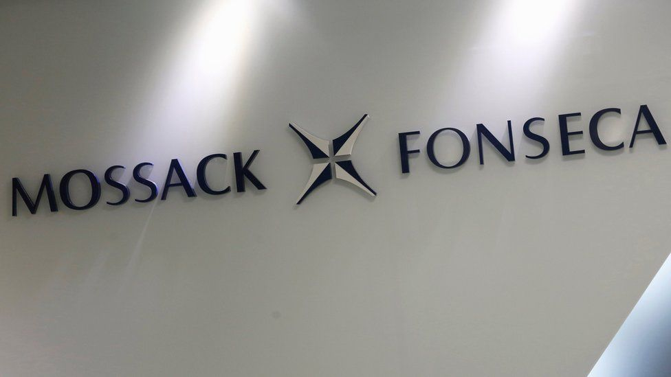 A sign with the Mossack Fonseca logo