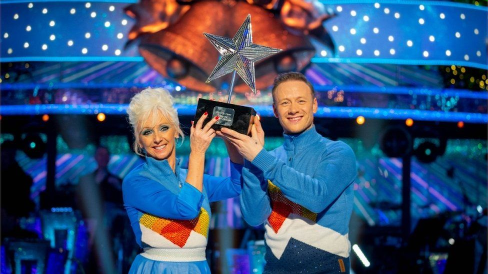 Debbie McGee and Kevin Clifton celebrate after winning this year's BBC1's Strictly Come Dancing Christmas special