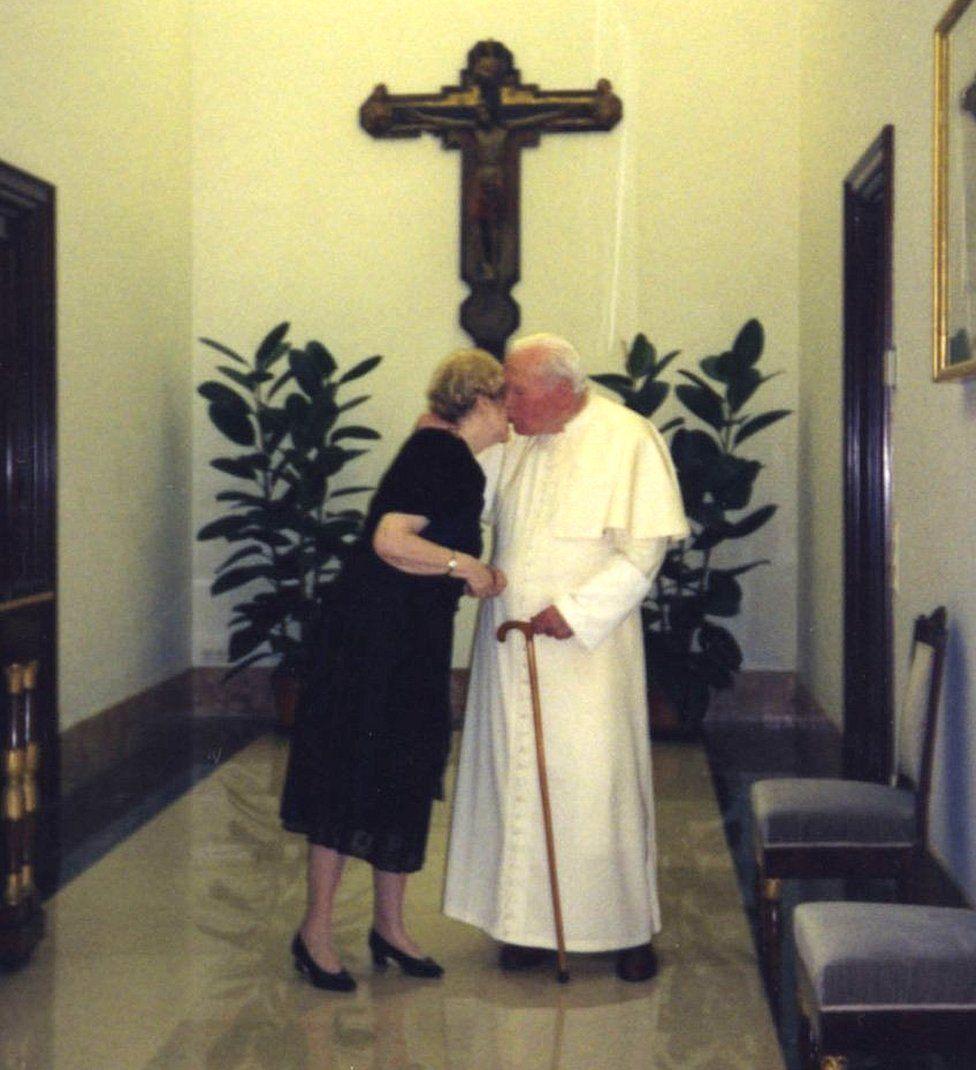 Ms Tymieniecka and Pope John Paul II in the Vatican
