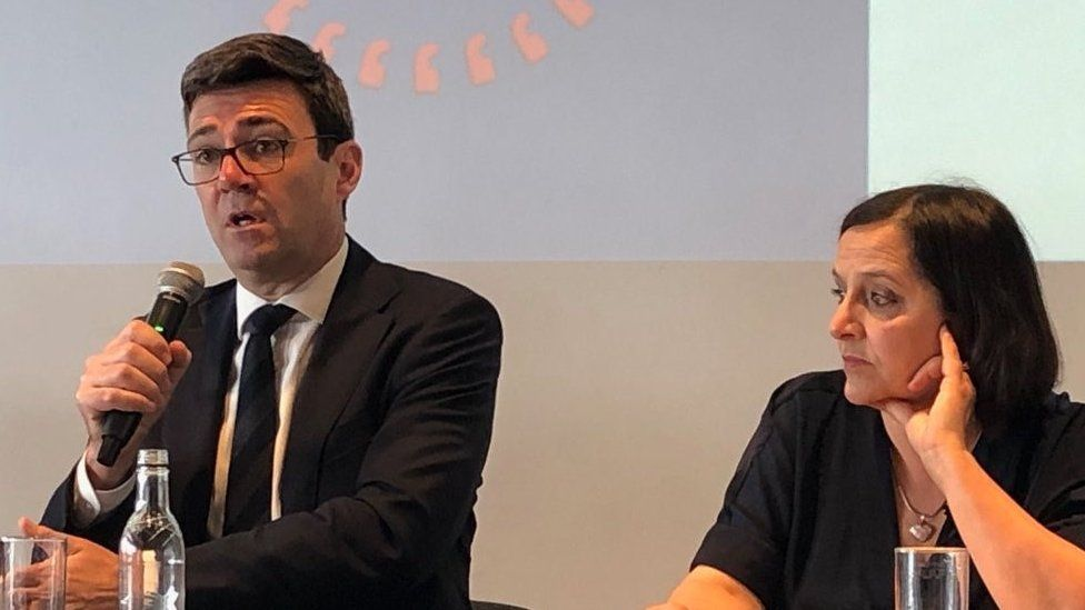 Greater Manchester mayor Andy Burnham and Figen Murray